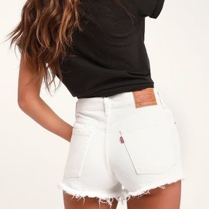 Levi's 501 White Frayed Hem Cut Off Shorts